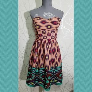 MM Couture Geometric Print Strapless A-Line Dress